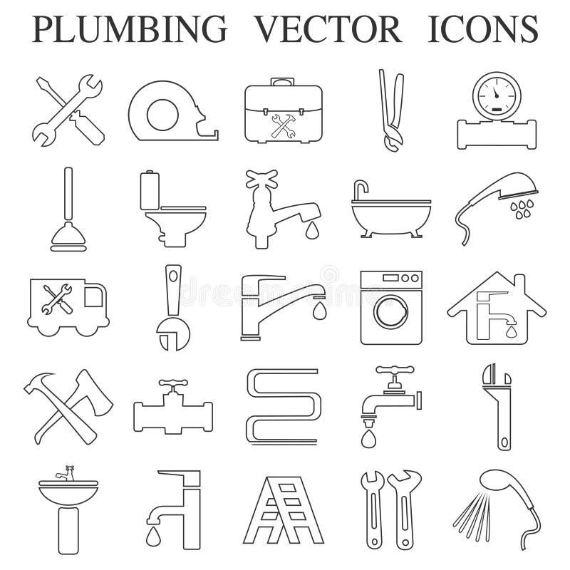 Emblemas de la fontanería, etiquetas y elementos del diseño ilustración del vector