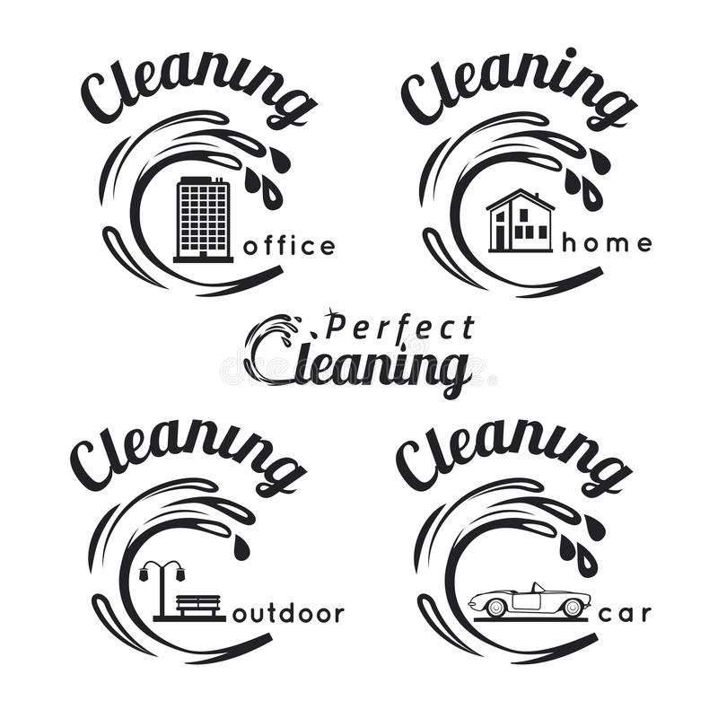 Emblemas de la limpieza libre illustration