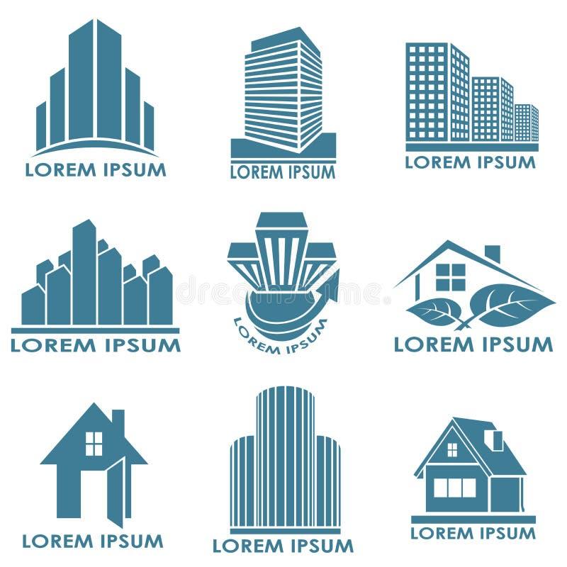 Emblemas de las propiedades inmobiliarias ilustración del vector