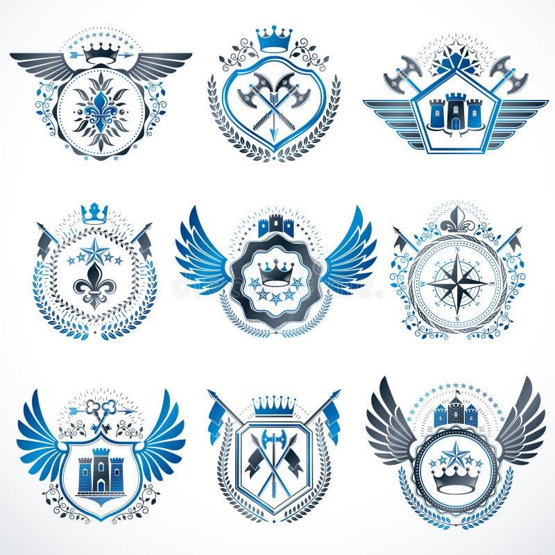 Emblemas decorativos heráldicos hechos con las coronas reales, illus animal ilustración del vector