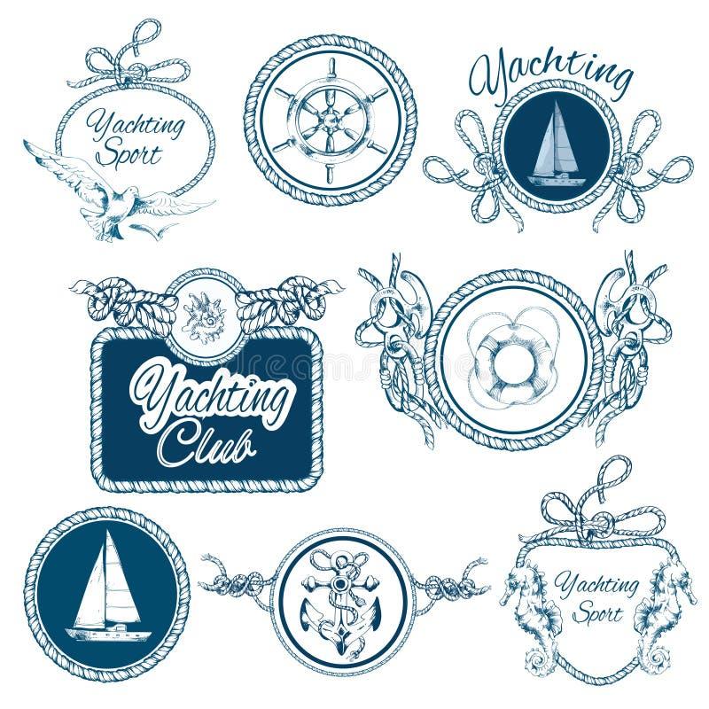 Emblemas del bosquejo que navegan fijados ilustración del vector