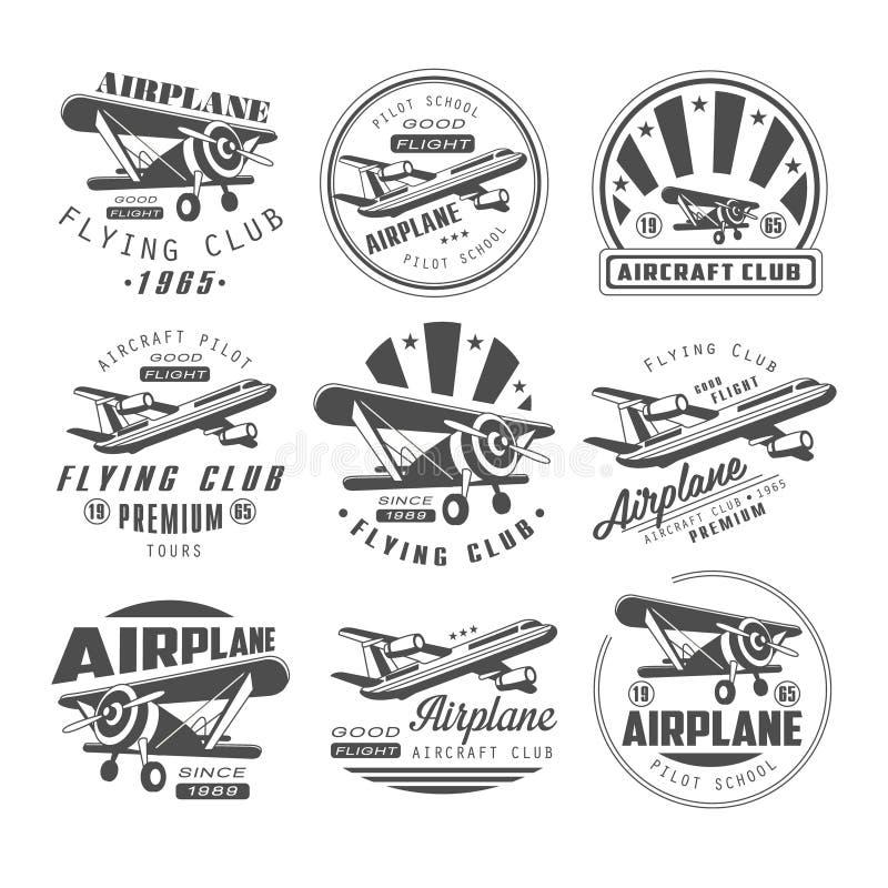 Emblemas del club del aeroplano ilustración del vector
