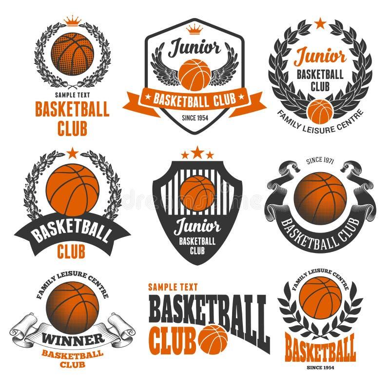 Emblemas del club del baloncesto stock de ilustración