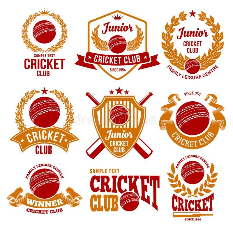 Emblemas del club del grillo stock de ilustración