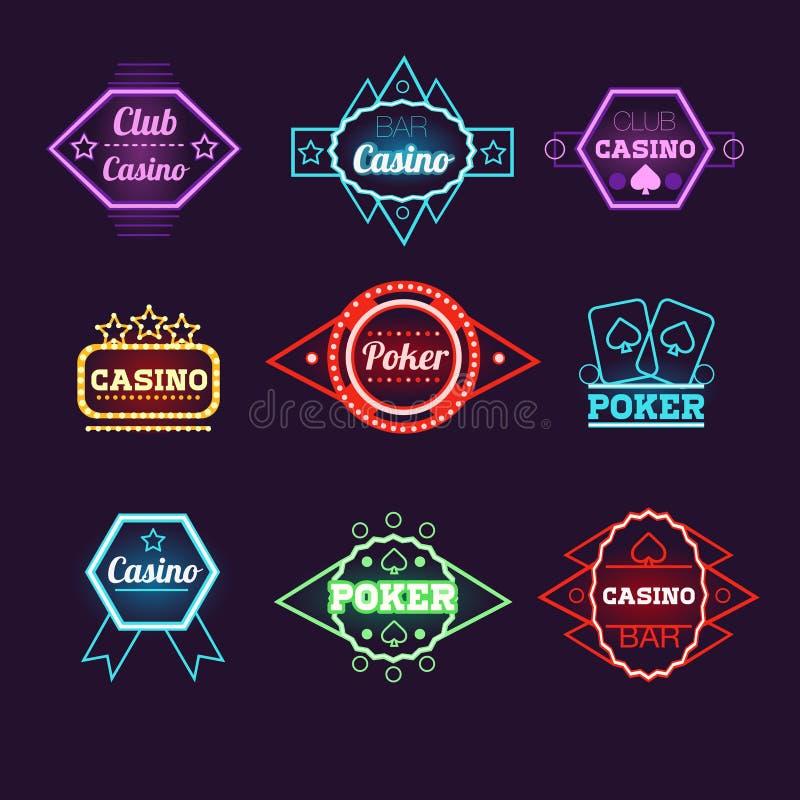 Emblemas del club y del casino del póker de la luz de neón stock de ilustración