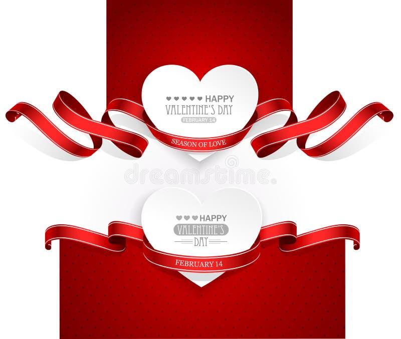 Emblemas del día de tarjetas del día de San Valentín stock de ilustración