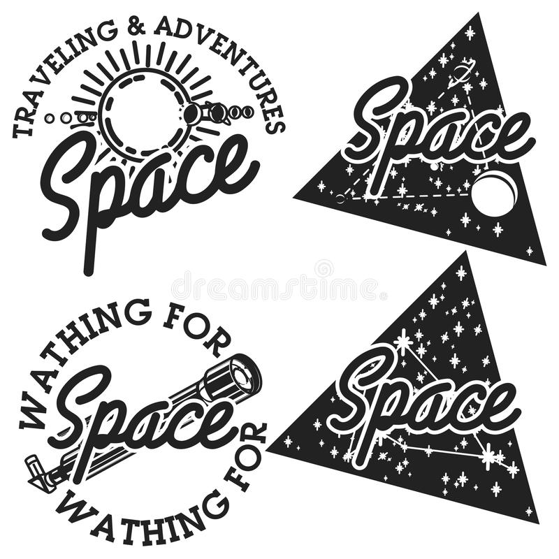 Emblemas del espacio del vintage stock de ilustración