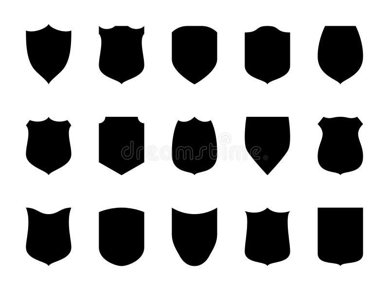 Emblemas del espacio en blanco del escudo Escudos heráldicos, etiquetas negras de la seguridad El premio del caballero, las insig stock de ilustración