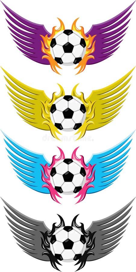Emblemas del fútbol del fútbol con ido volando stock de ilustración