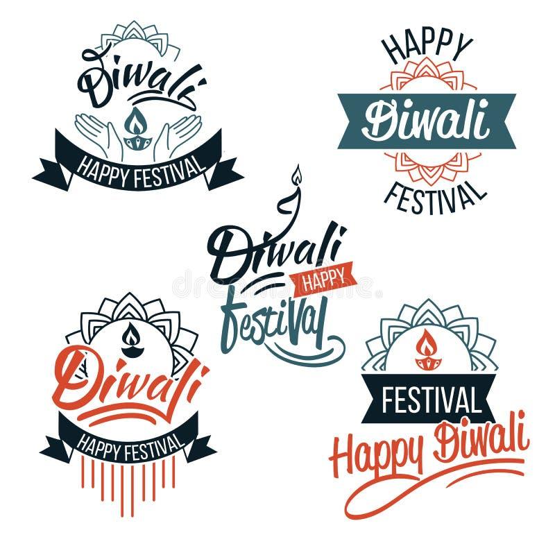 Emblemas del festival de Diwali con las velas y el loto ilustración del vector