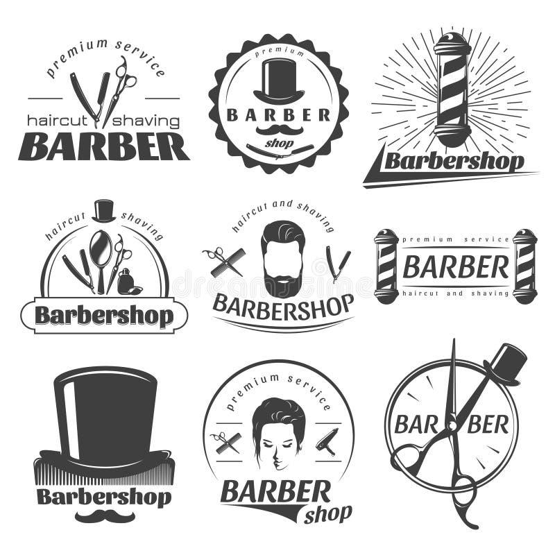 Emblemas del gráfico de las barberías stock de ilustración