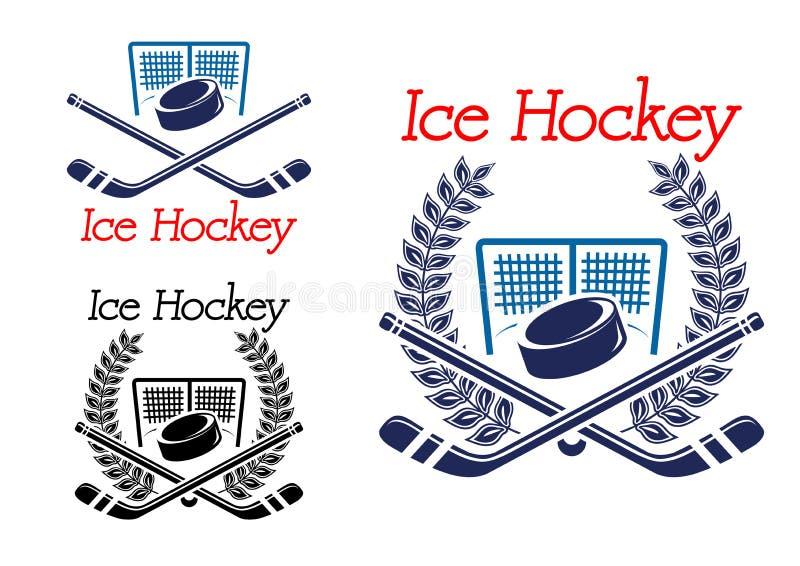 Emblemas del hockey sobre hielo con la red del hockey ilustración del vector