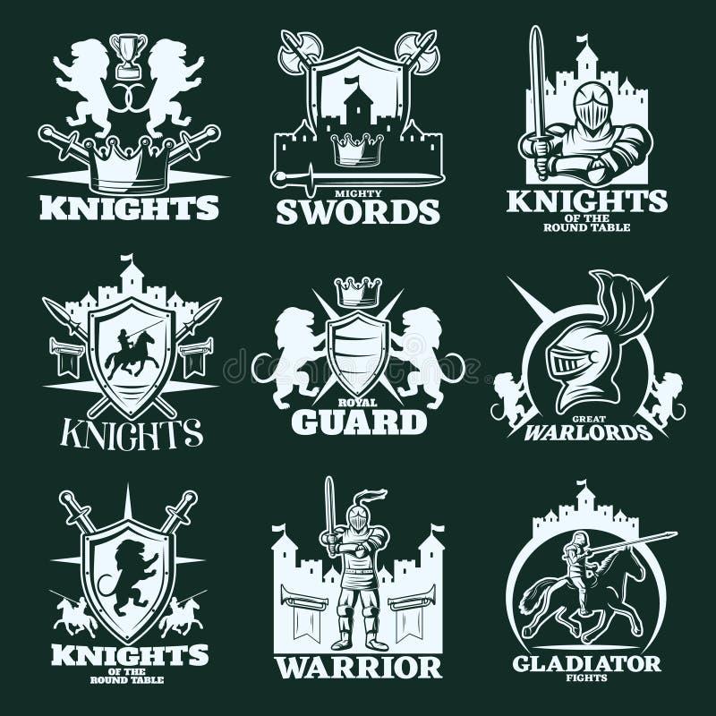 Emblemas del monocromo de los caballeros libre illustration