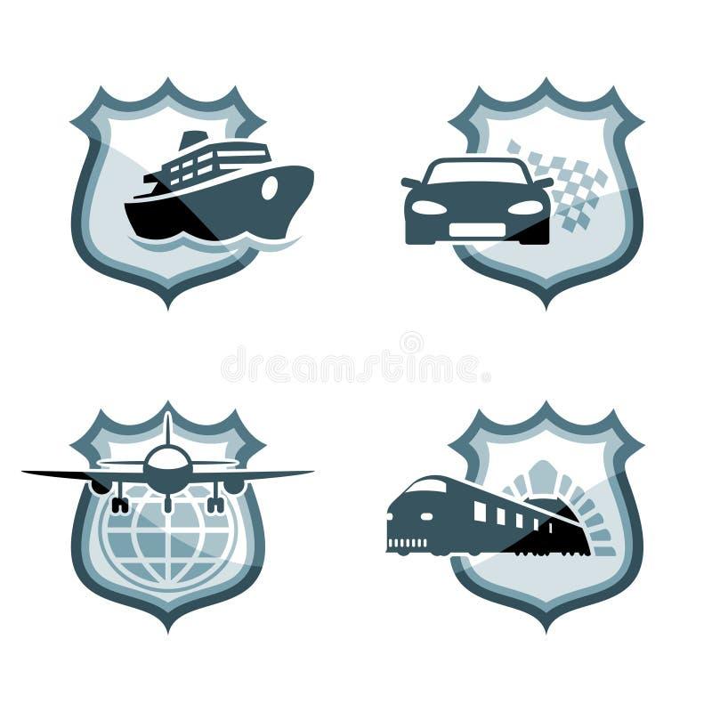 Emblemas del transporte stock de ilustración