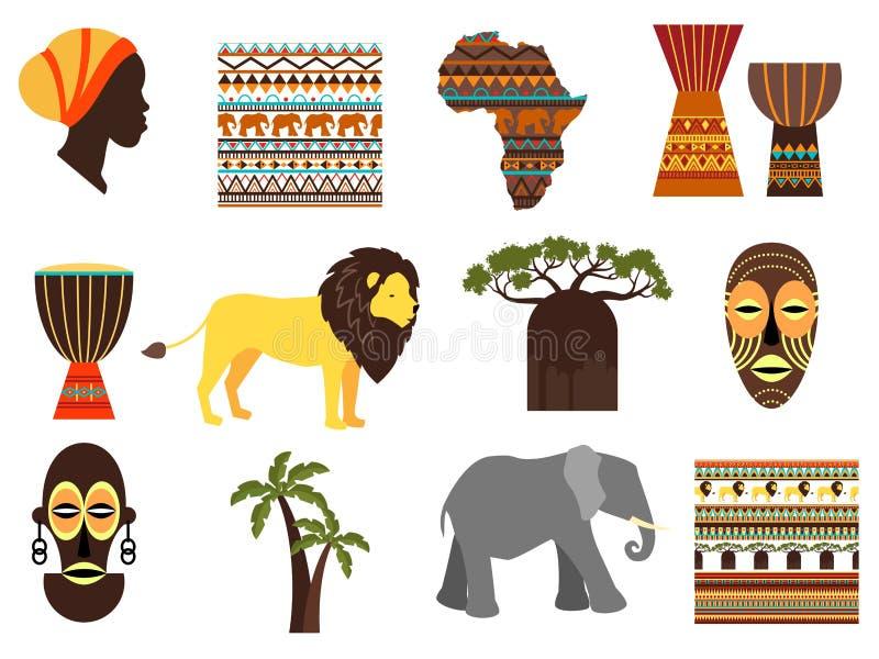 Emblemas del vector del safari de África e iconos planos stock de ilustración