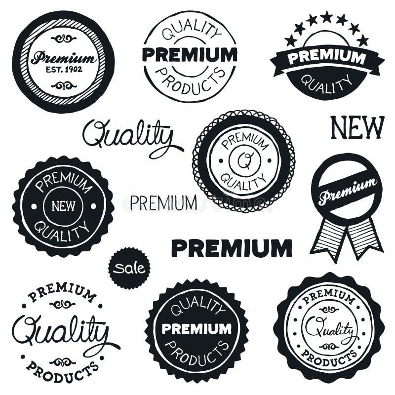 Emblemas desenhados do vintage ilustração royalty free