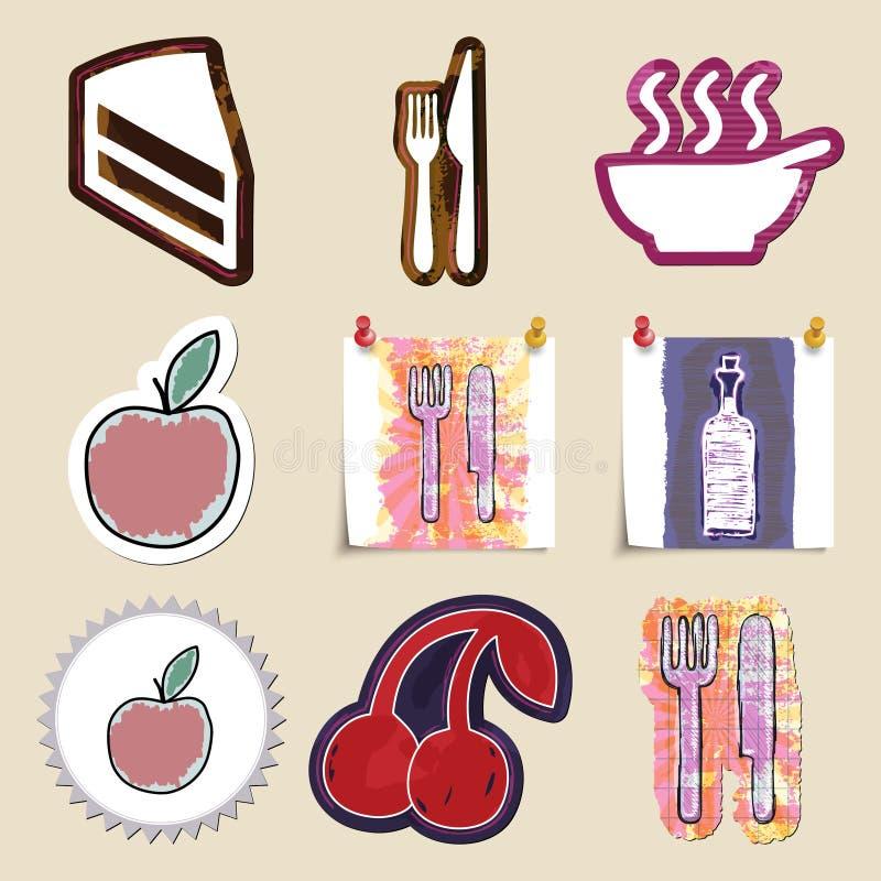Emblemas dibujados mano de la comida y de la bebida fijados Aislado ilustración del vector