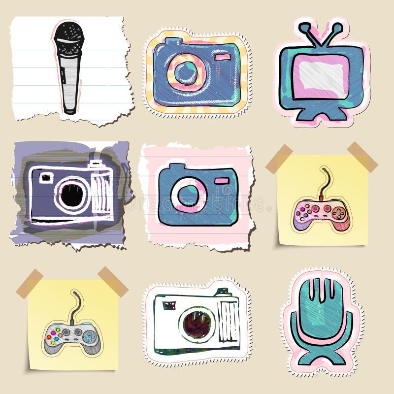 Emblemas dibujados mano de los medios y del entretenimiento fijados stock de ilustración