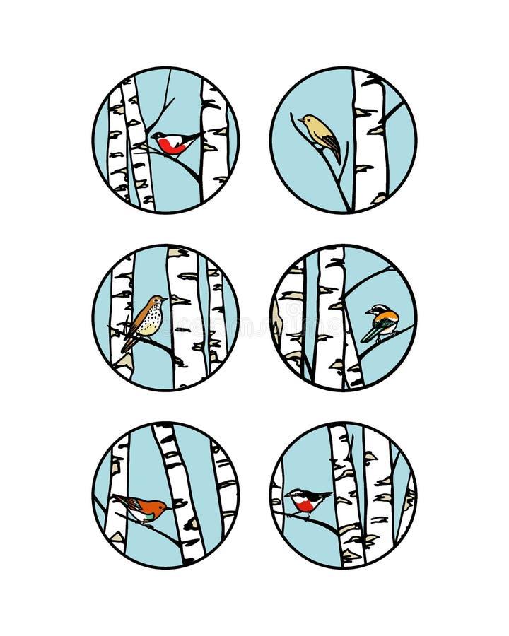 Emblemas dibujados mano del pájaro ilustración del vector