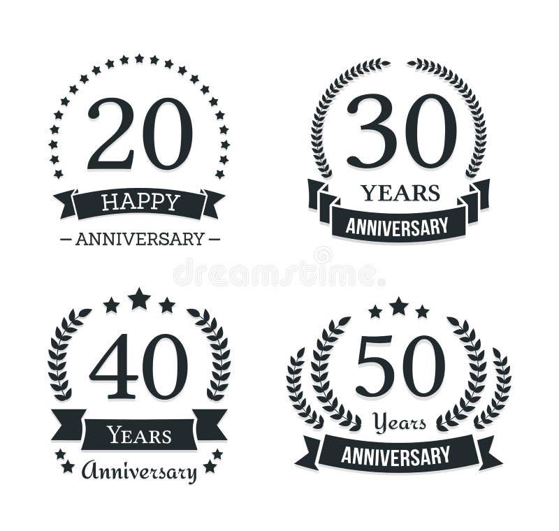 Emblemas do aniversário ilustração stock