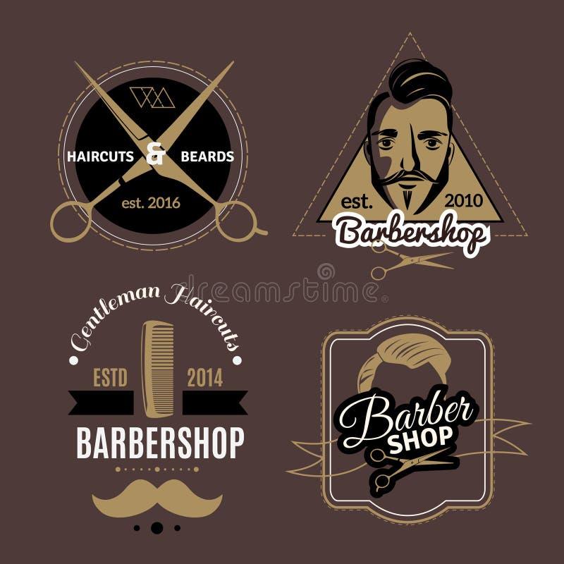 Emblemas do barbeiro ajustados ilustração royalty free