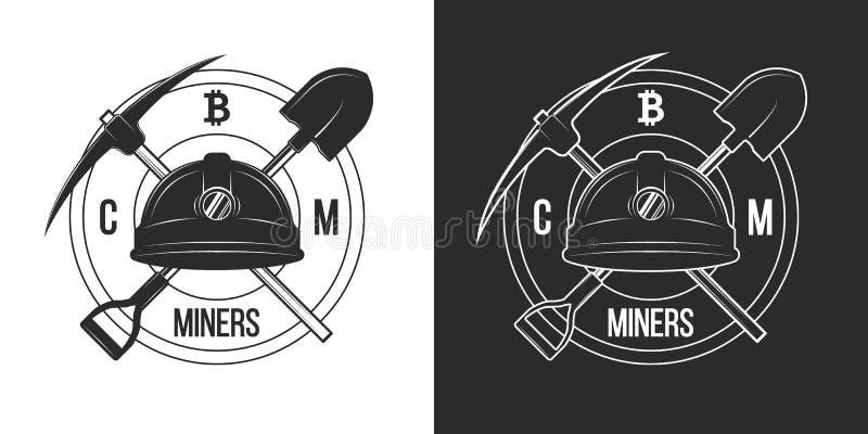 Emblemas do bitcoin do cryptocurrency da mineração, isolados no fundos preto e branco Logotipos, crachás de mineiros do cryptocur ilustração royalty free
