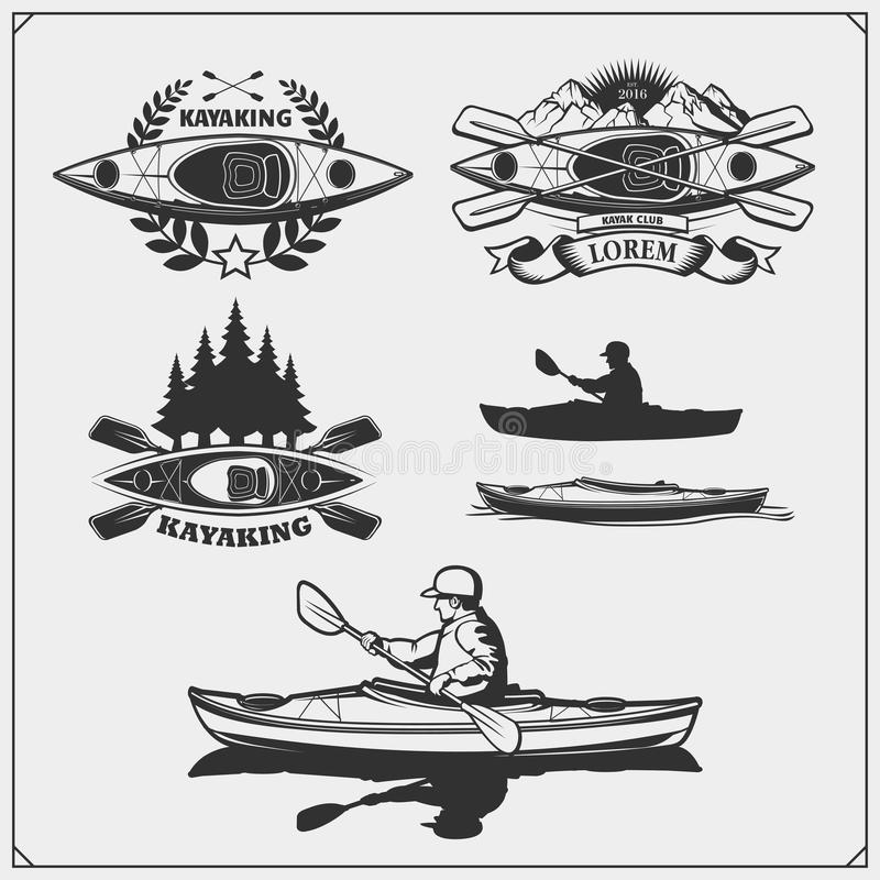 Emblemas do caiaque e da canoa, etiquetas, crachás e elementos do projeto Projeto da cópia para t-shirt ilustração stock