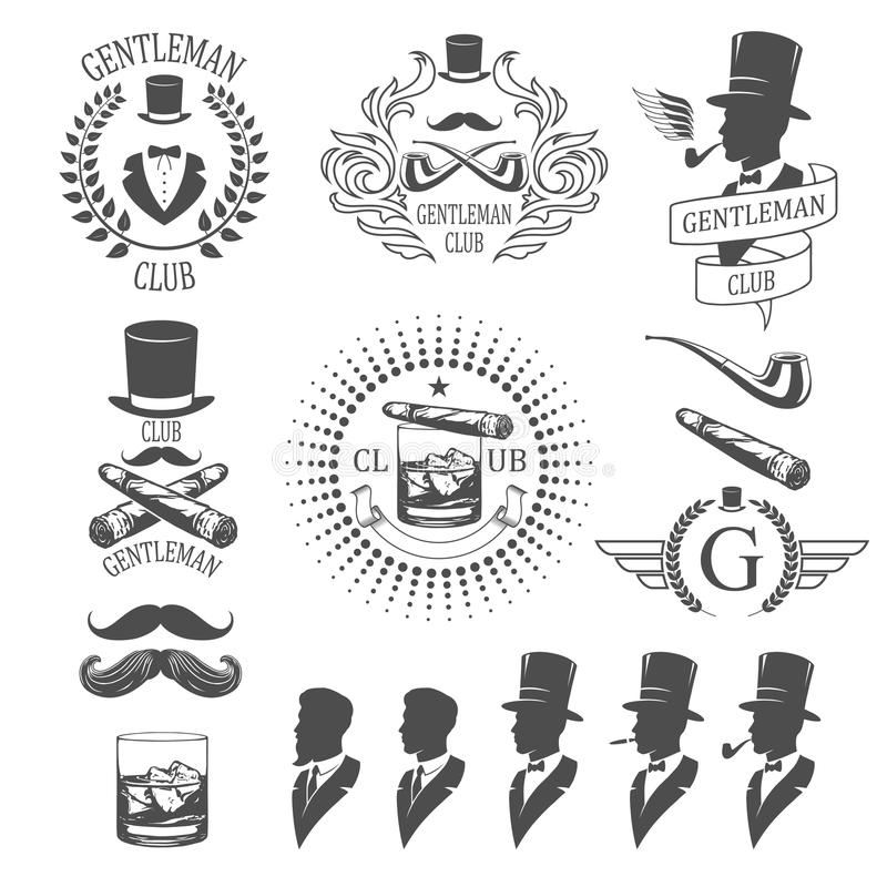 Emblemas do cavalheiro ajustados ilustração royalty free