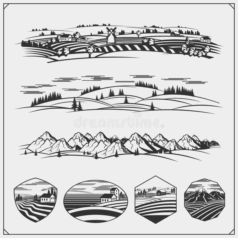 Emblemas do clube, crachás e elementos de acampamento do projeto Grupo retro de turismo da montanha, floresta que acampam, aventu ilustração do vetor