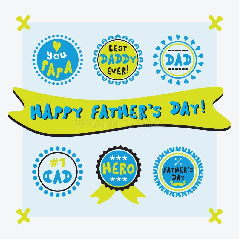 Emblemas do dia de pai do círculo e grupo bonitos amarelos e azuis do projeto ilustração do vetor