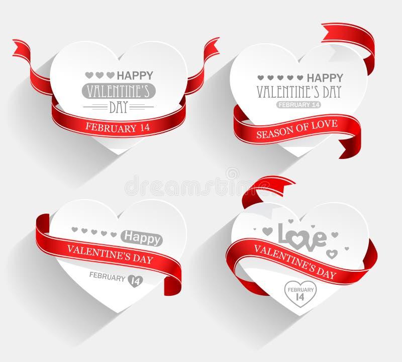 Emblemas do dia de Valentim ilustração royalty free