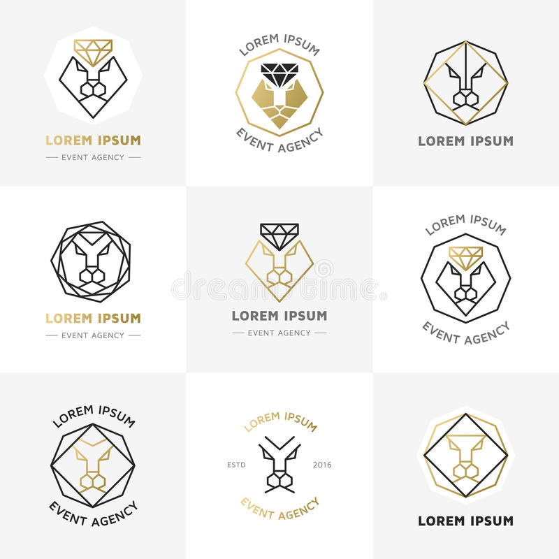 Emblemas do diamante do leão ilustração do vetor