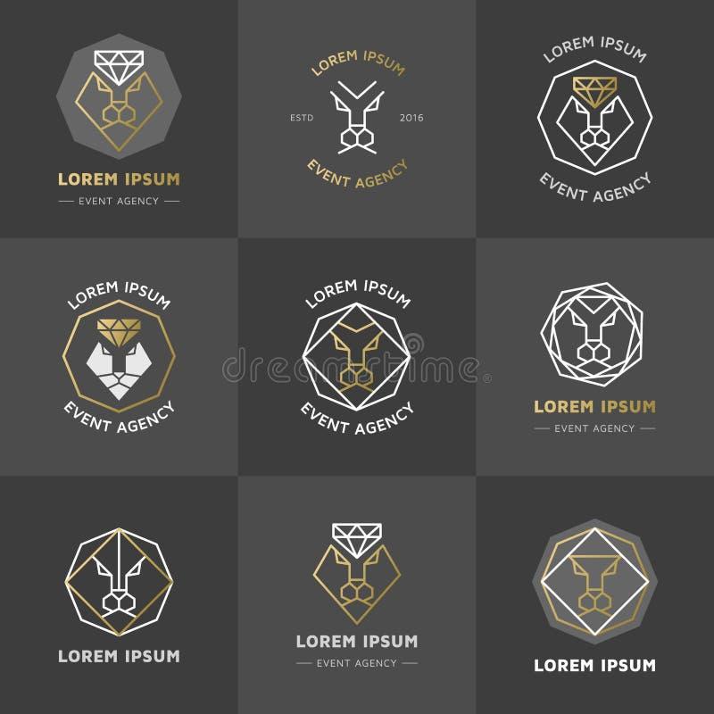 Emblemas do diamante do leão ilustração royalty free