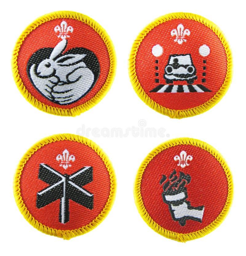 Emblemas do escuteiro ajustados foto de stock