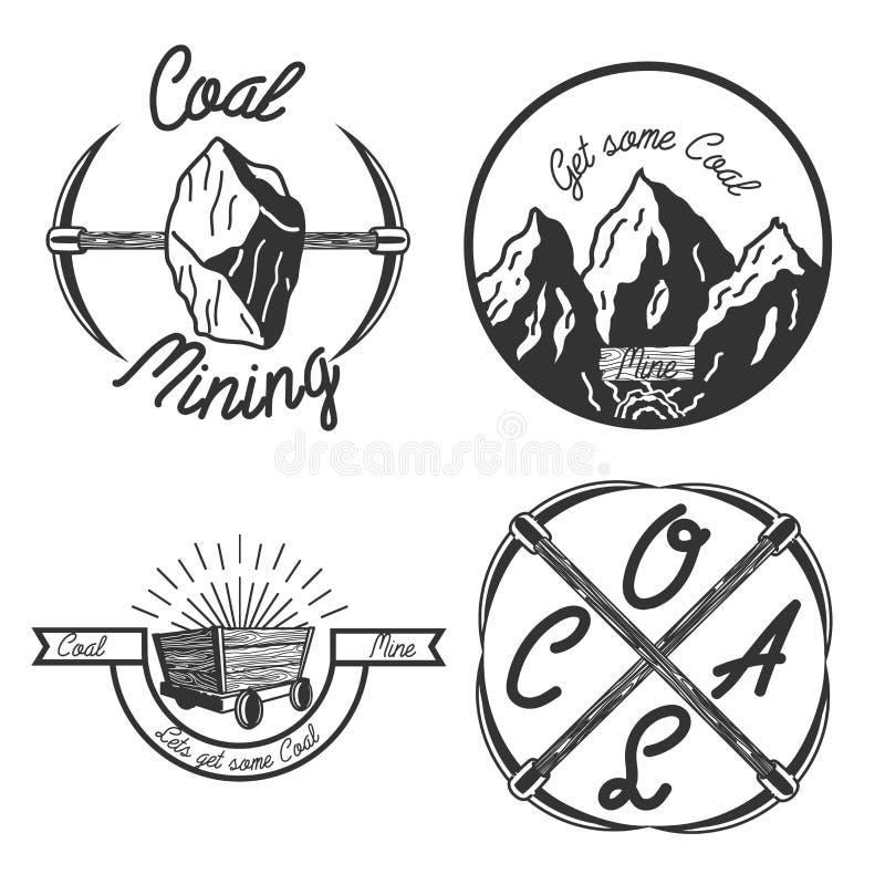 Emblemas do extração de carvão do vintage ilustração do vetor