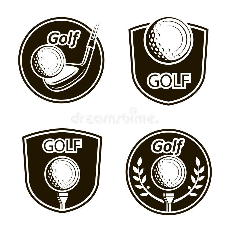 Emblemas do golfe ajustados ilustração stock