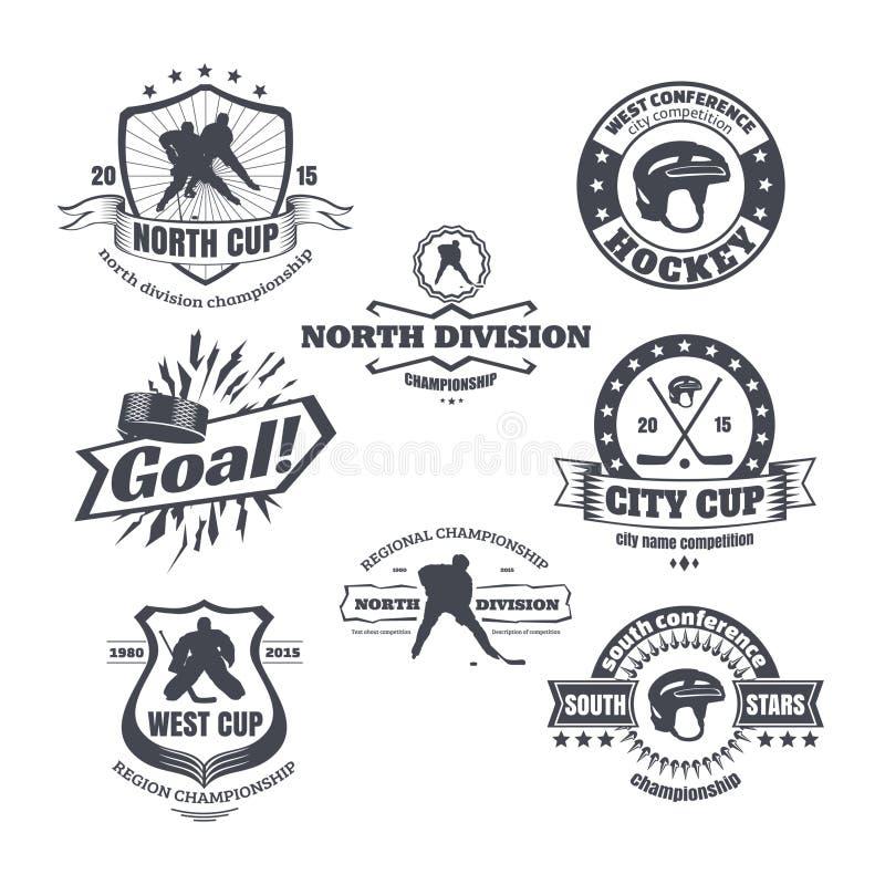 Emblemas do hóquei ilustração do vetor