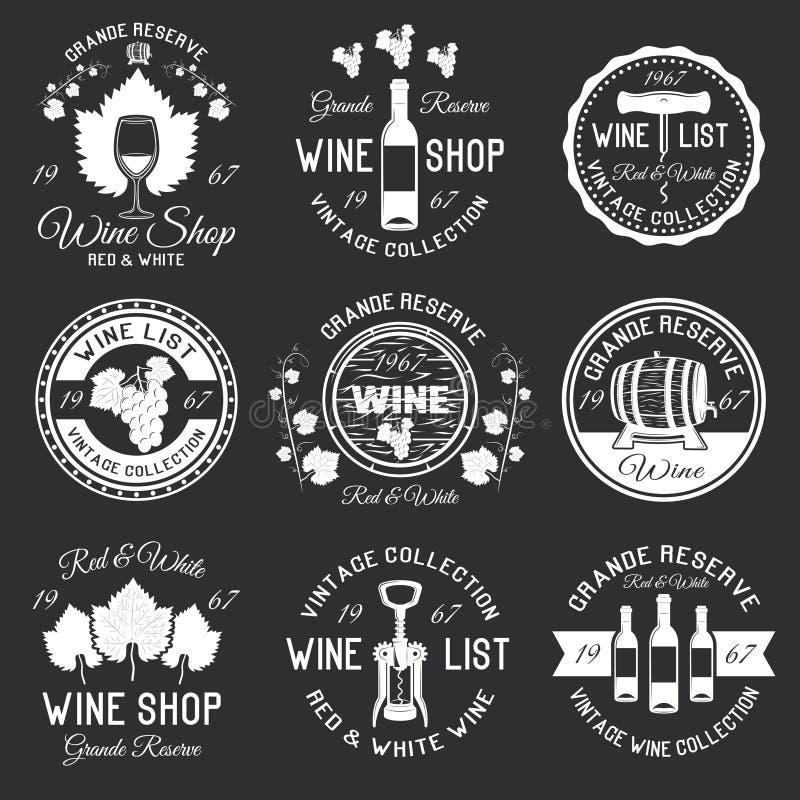 Emblemas do Monochrome do vinho ilustração royalty free