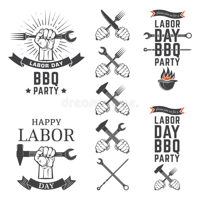 Emblemas do partido do BBQ do Dia do Trabalhador ilustração stock