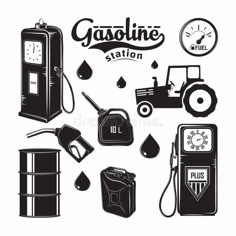 Emblemas do posto de gasolina das FO dos elementos ilustração do vetor