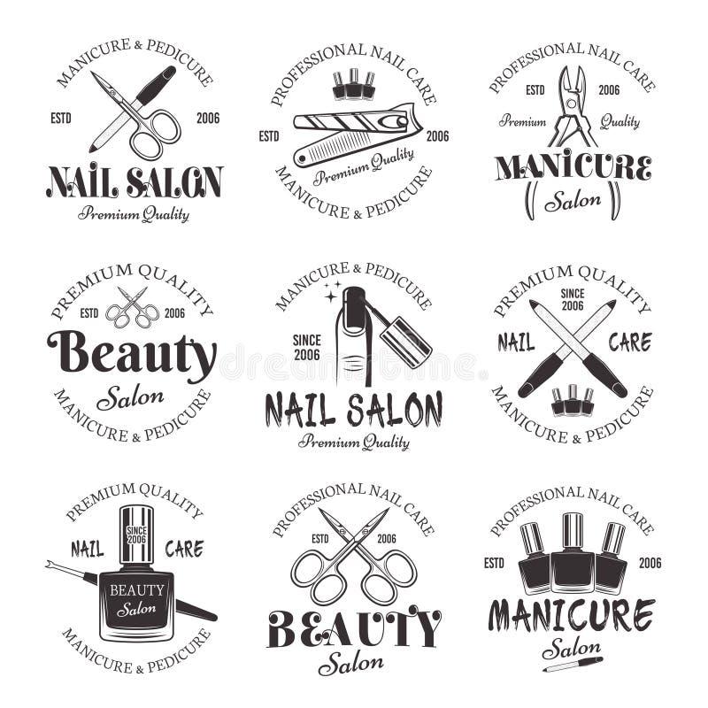 Emblemas do preto do vetor do salão de beleza do tratamento de mãos e do pedicure ilustração royalty free