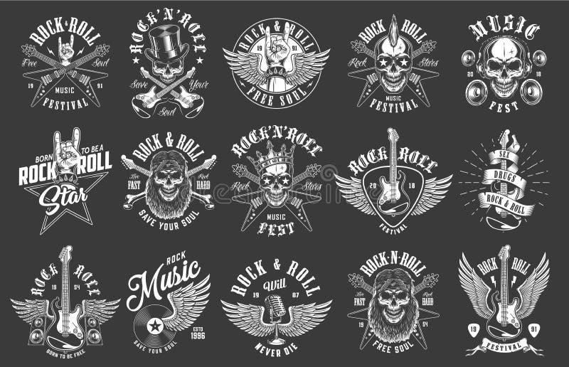 Emblemas do rock and roll ilustração royalty free