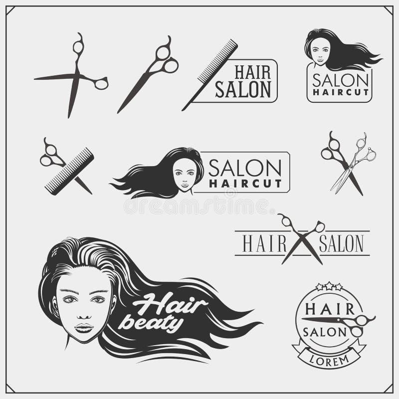 Emblemas do salão de beleza com cara fêmea Projeto para o cosmético, o cabeleireiro e o salão de beleza ilustração stock