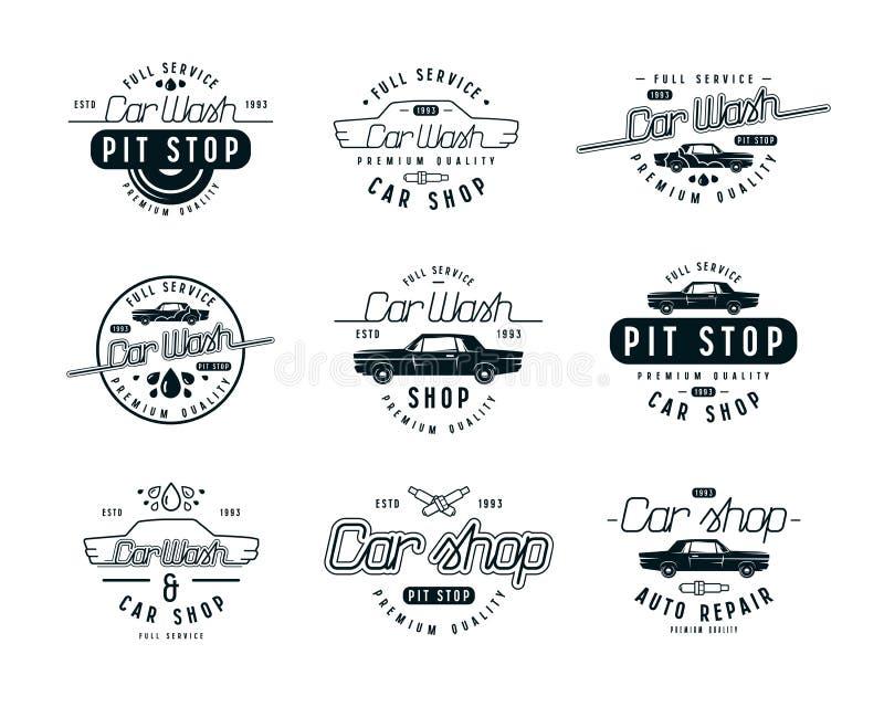 Emblemas do serviço do carro ilustração royalty free