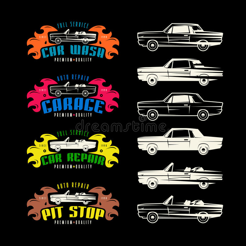 Emblemas do serviço do carro e elementos do projeto ilustração do vetor