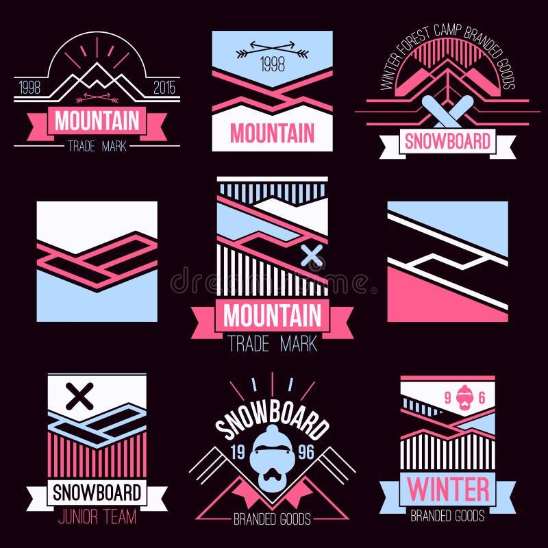 Emblemas do Snowboard e das montanhas ilustração do vetor