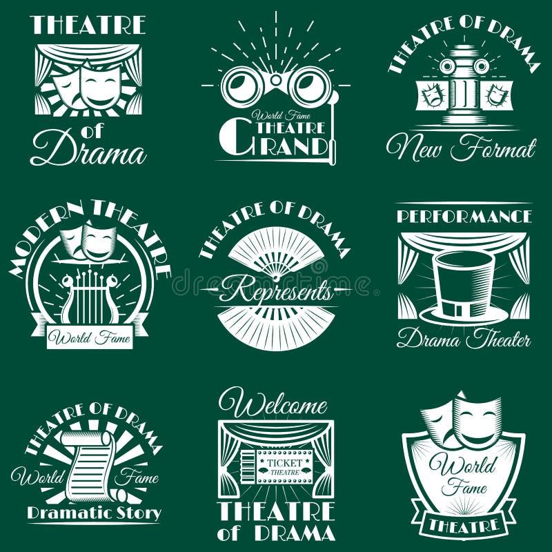 Emblemas do teatro do vintage do vetor, etiquetas, crachás, logotipo ilustração stock