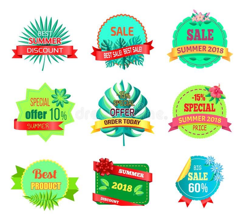 Emblemas do verão 2018 da venda com plantas tropicais ilustração do vetor