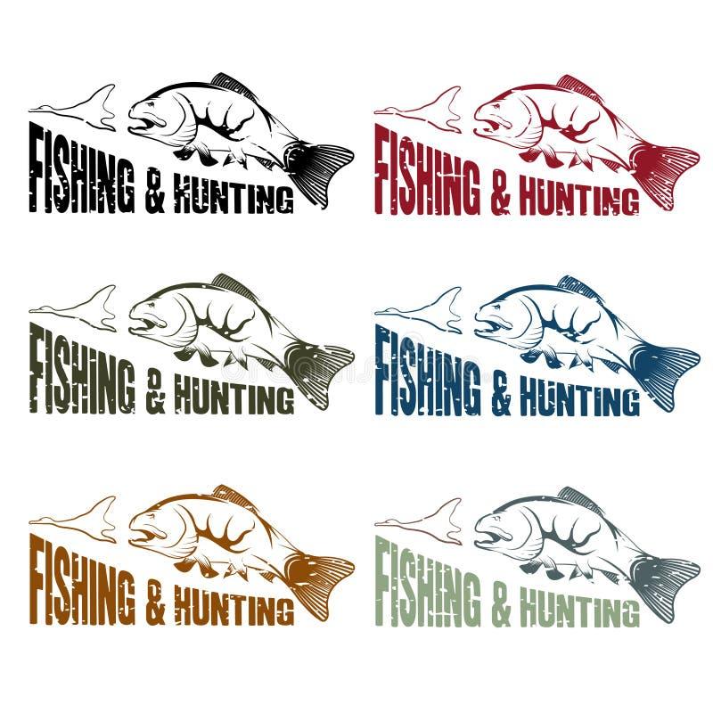 emblemas do vintage da caça e da pesca do vetor ajustados ilustração stock