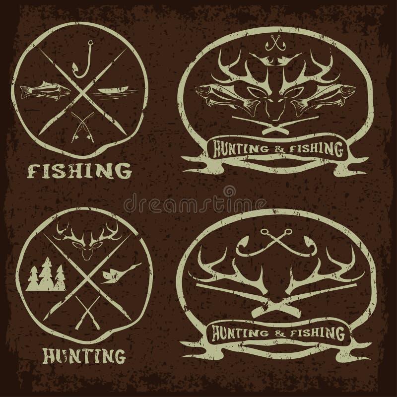 emblemas do vintage da pesca ajustados ilustração stock